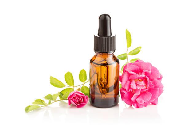 Rose essential oil stock photo