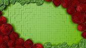 istock Rose flower background template, Valentines day, 3d rendering. 1172885870