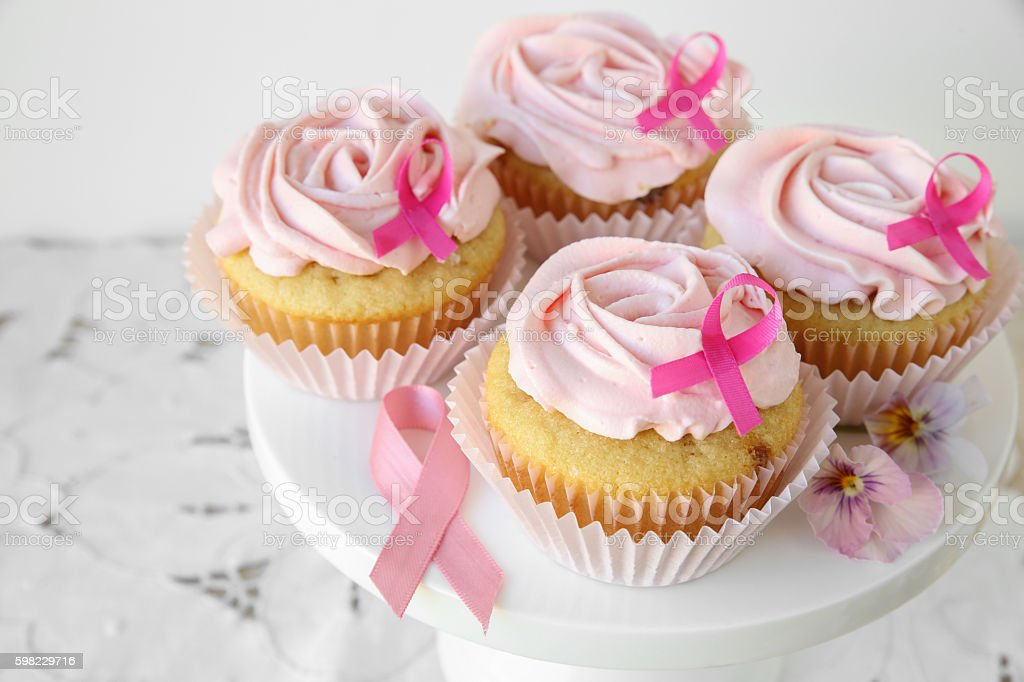 Rose flower cupcakes for pink ribbon day, Breast cancer awarenes stock photo