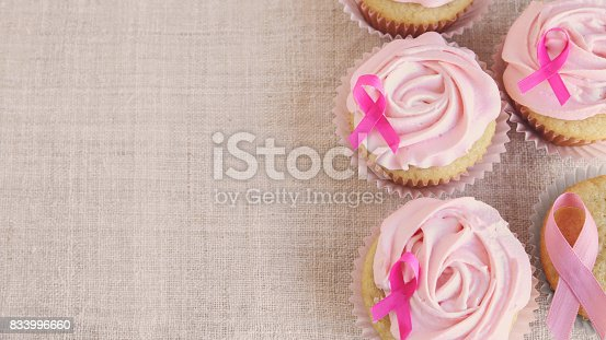 istock Rose flower cupcakes for pink ribbon day, October Pink, copy space background, Breast cancer awareness 833996660