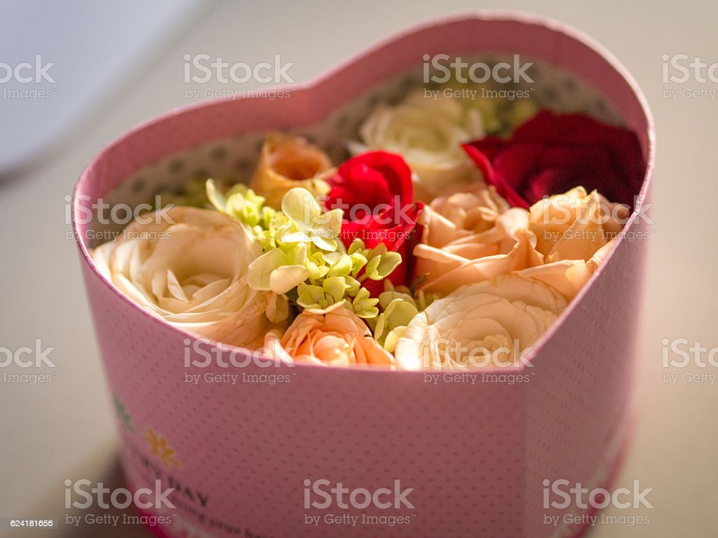 Rose Flower in Heart Shape Box - foto de acervo
