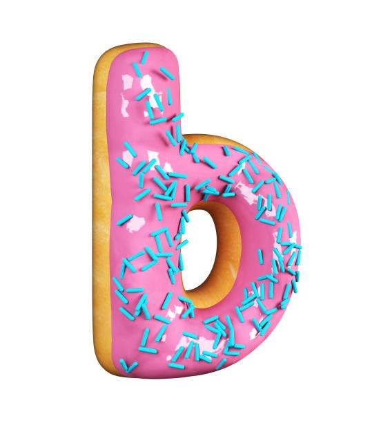 로즈 유약 도넛. 문자 B 스톡 사진