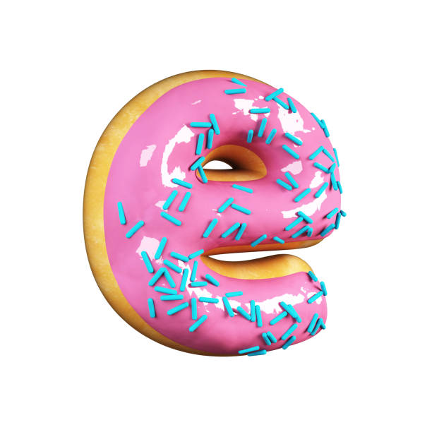 Rose Glazed Donut. Letter E stock photo