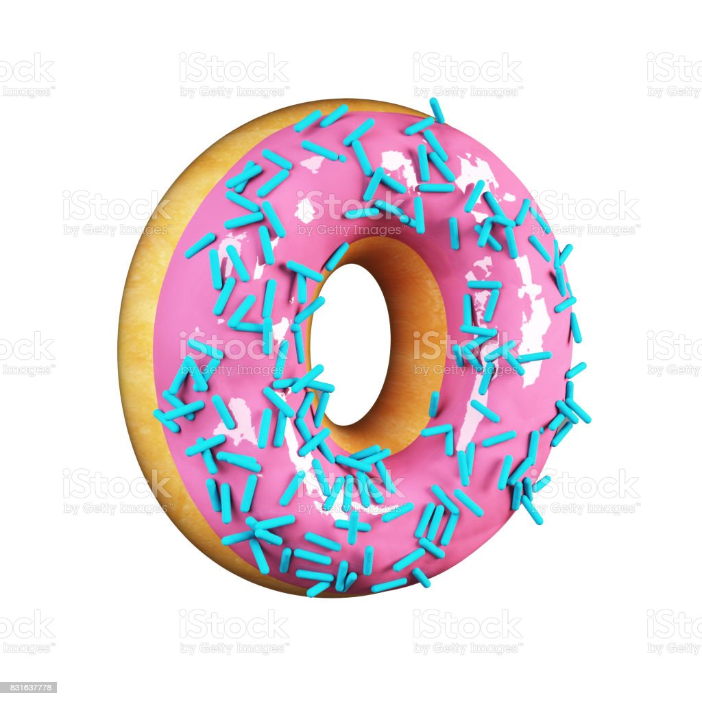 Rose Glazed Donut. Letter O stock photo