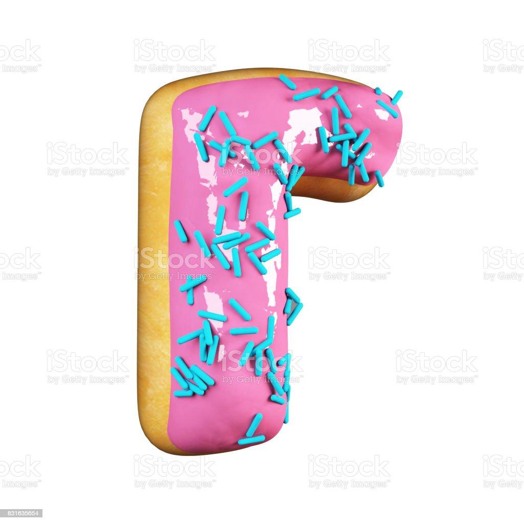 Rose Glazed Donut. Letter R stock photo