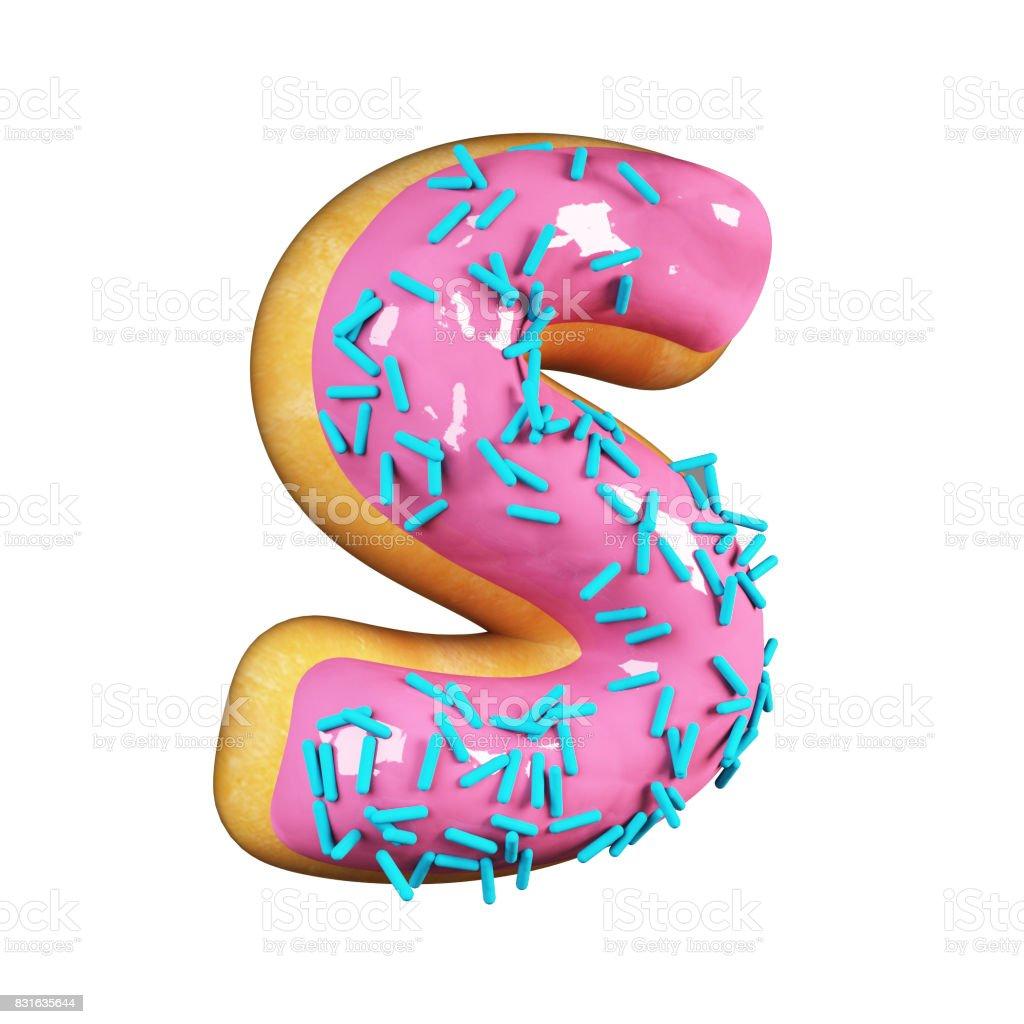 Rose Glazed Donut. Letter S stock photo