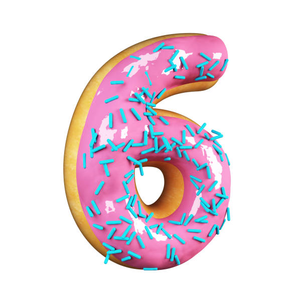 rose glazed donut. number 6 - number 6 stock photos and pictures