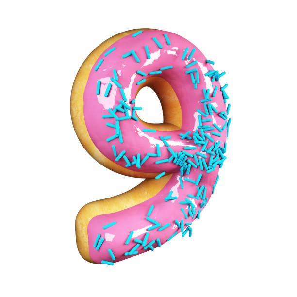 Rose Glazed Donut. Number 9 stock photo