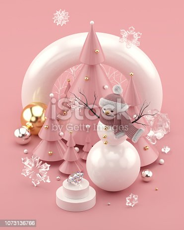 istock Rose Gold 3D illustration with snowman and decorated Christmas trees 1073136766