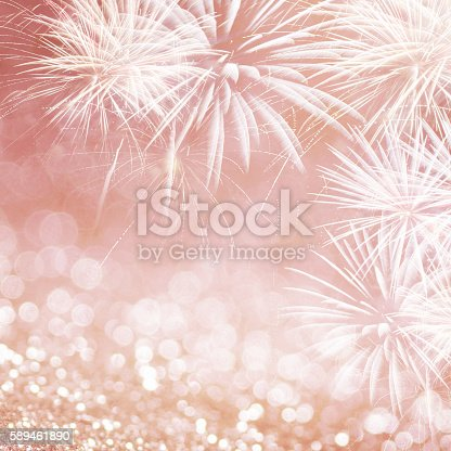 636207118 istock photo Rose gold fireworks at New Year 589461890
