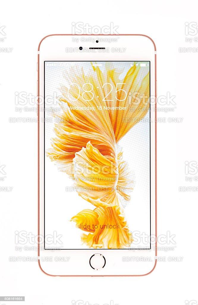 In Oro Rosa Iphone 6s Più Isolato Su Bianco Fotografie Stock E