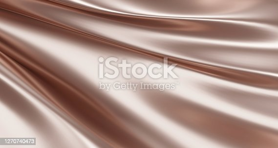 istock Rose gold luxury fabric background 3d render 1270740473