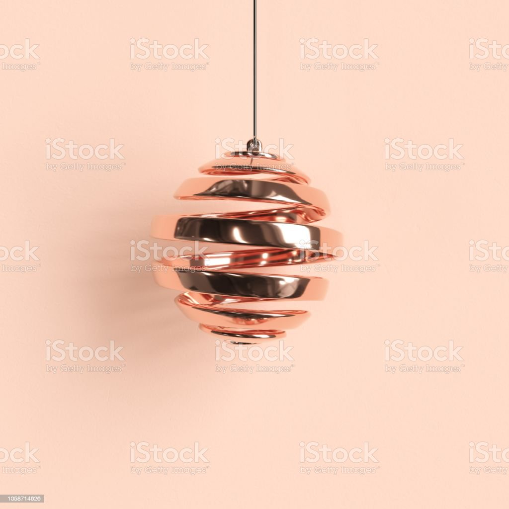 Rose Gold Ornaments Christmas Ball On Pastel Background Minimal