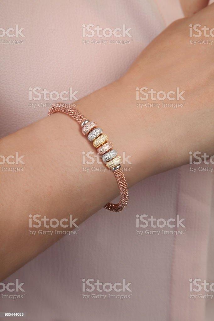 Rose Gold Silver Necklace Bracelet For Women zbiór zdjęć royalty-free