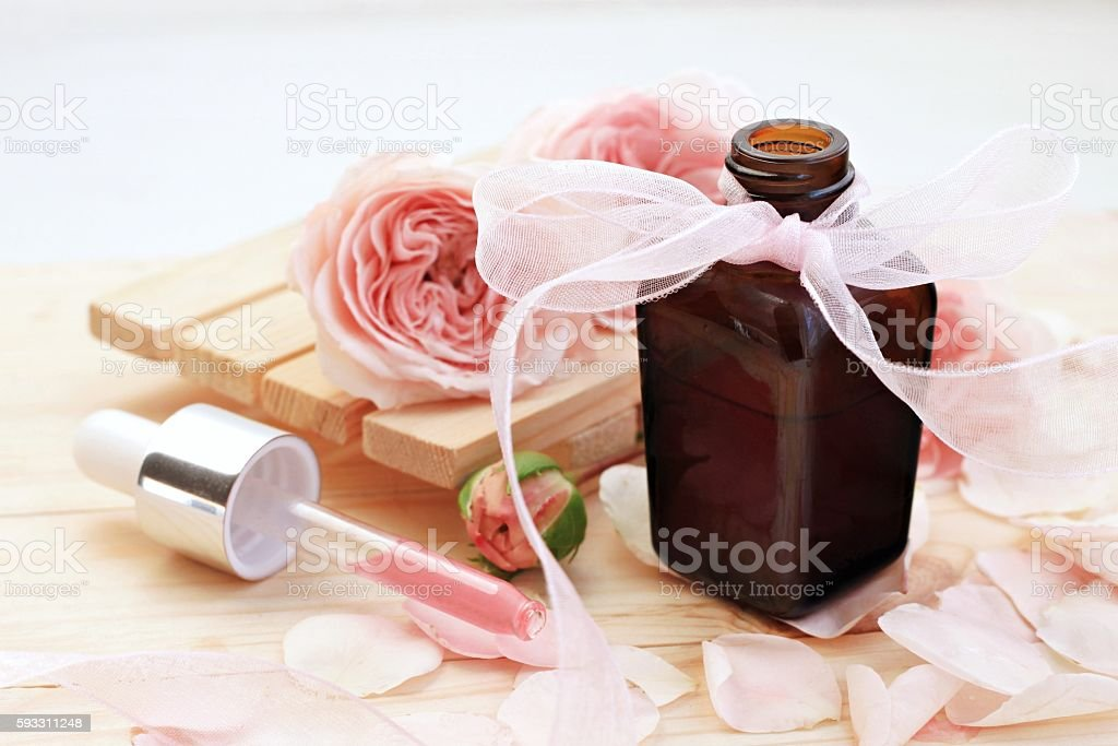 Rose holistic beauty care and aromatherapy stock photo