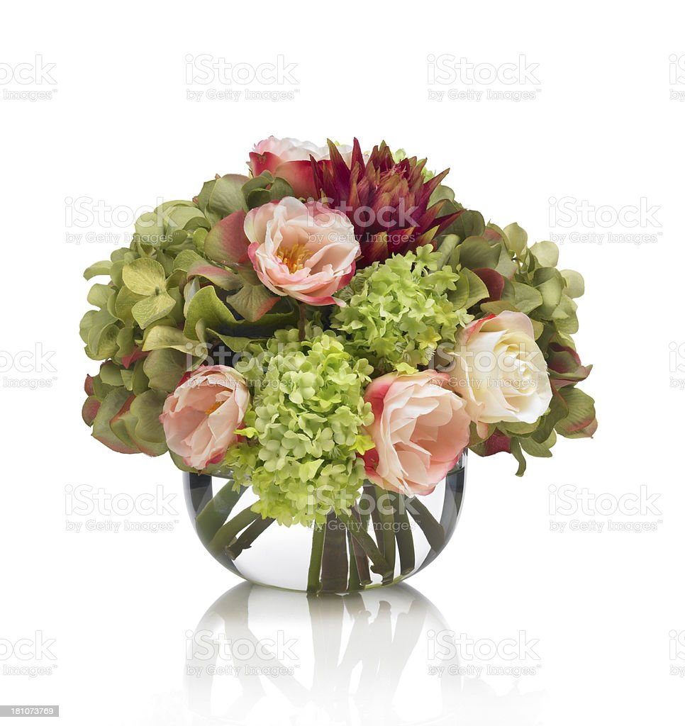 Rose hydrangea and protea bouquet on white background