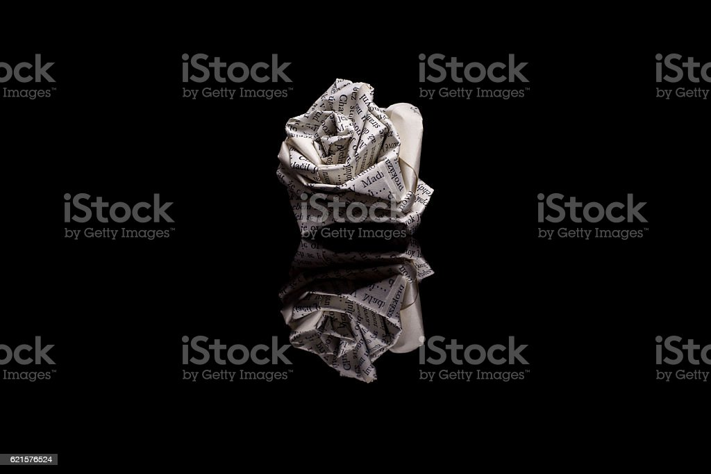 Rose made from book pages isolated on black background photo libre de droits