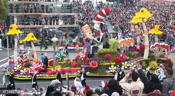 Pasadena, California, USA - January 1, 2013: The Kaiser Permanente Dr. Seuss float