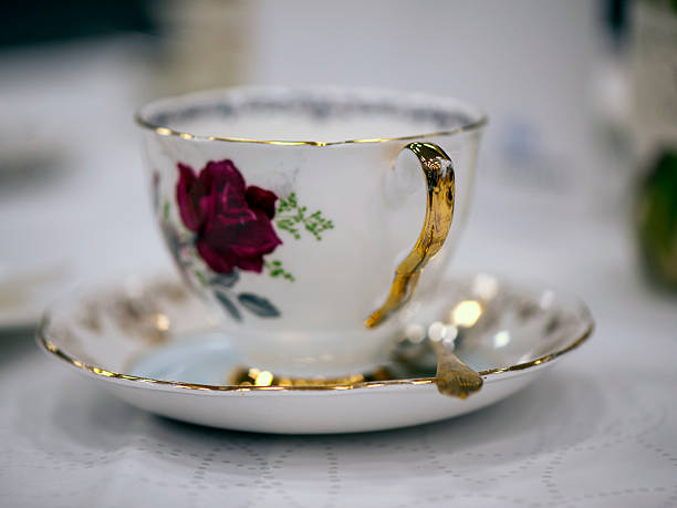 Rose Pattern Tea Cup stock photo