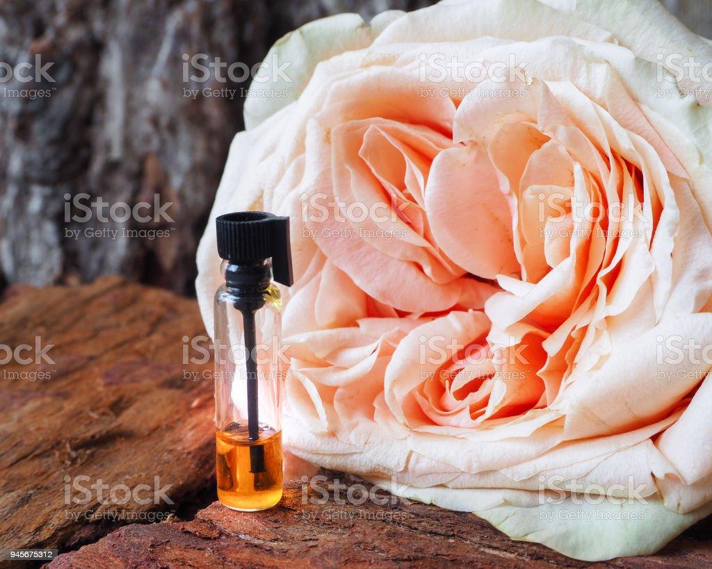 Rose perfumed oil. Arab perfume in mini bottles. stock photo