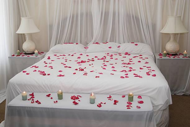 Rose petal bed. stock photo