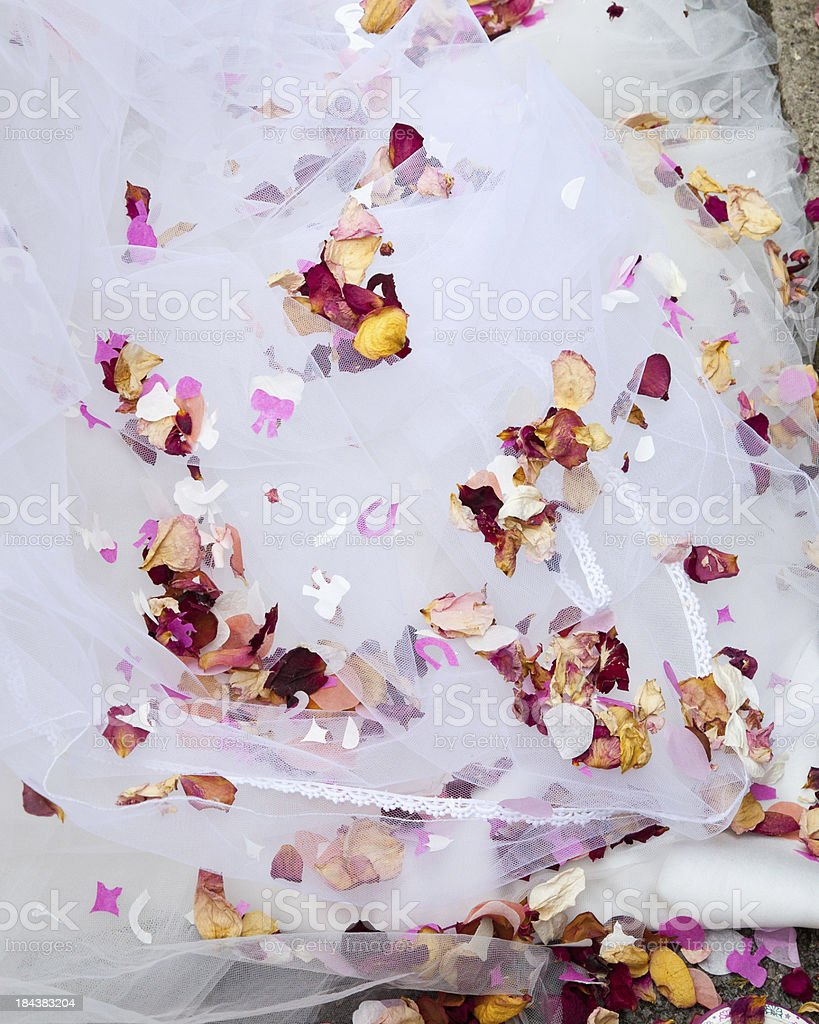 rose petal confetti on a white wedding dress stock photo