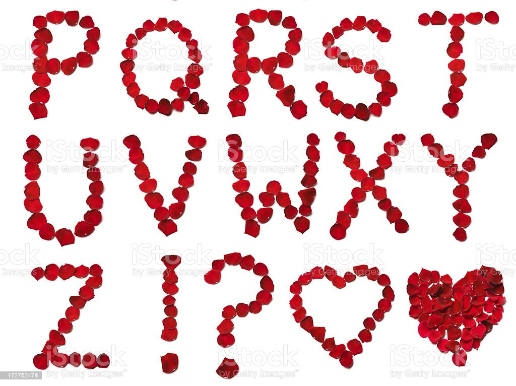 Rose Petal Letters 2 XXXXL royalty-free stock photo