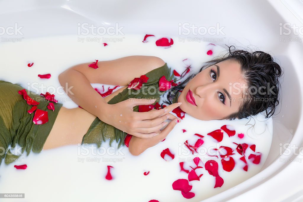 Rose Petal Milk Bath Stock Photo & More Pictures of Adult | iStock