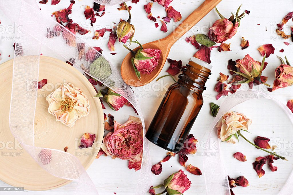 rose petals beauty care stock photo