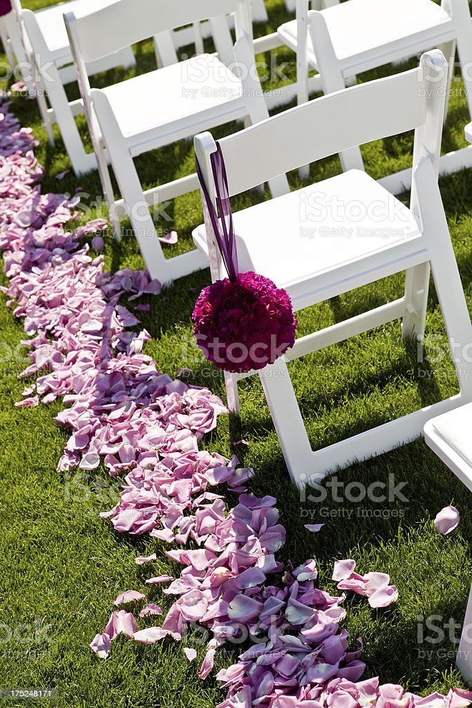 Rose Petals Hanging Floral Decoration White Folding Chairs At Wedding Royalty Free Stock