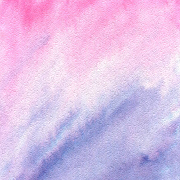 Rose quartz and serenity watercolor abstract gradient texture. Raster hand drawn painted background. stock photo