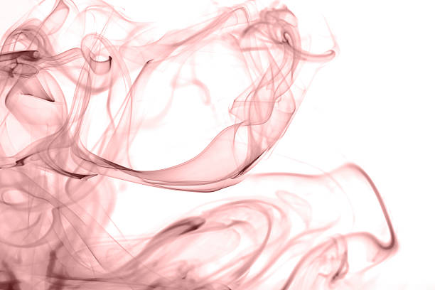 rose quartz color smoke on white background stock photo