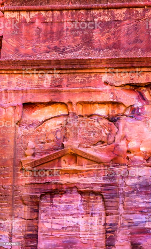 Rose Red Rock Tomb Street of Facades Petra Jordan stock photo