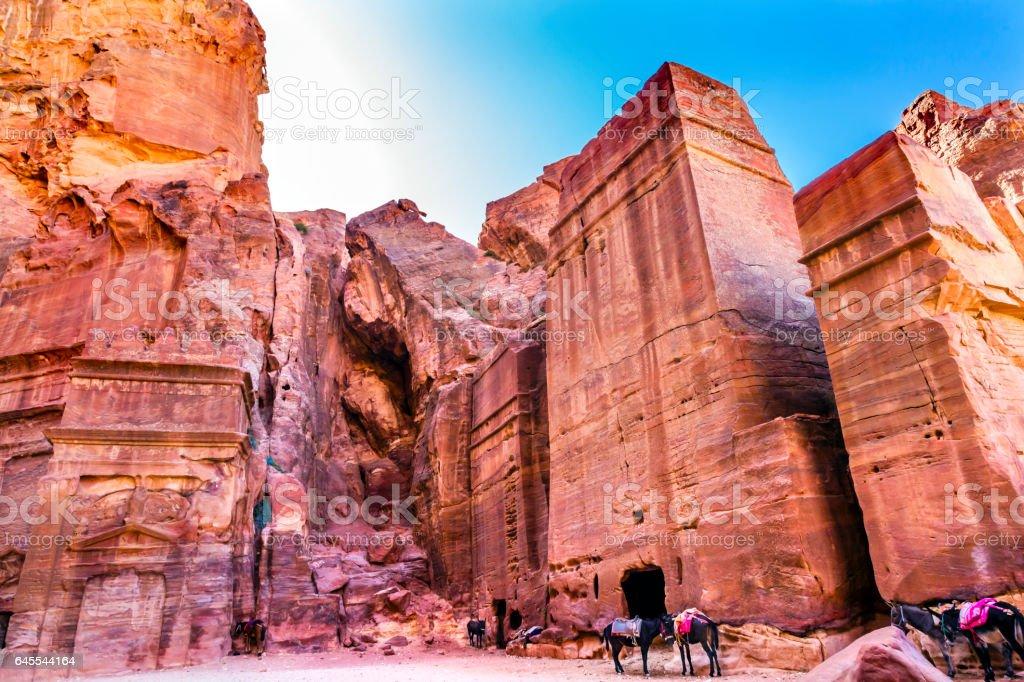 Rose Red Rock Tombs Afternoon Street of Facades Petra Jordan stock photo