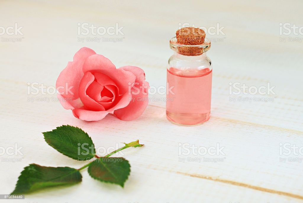Rose skincare water stock photo