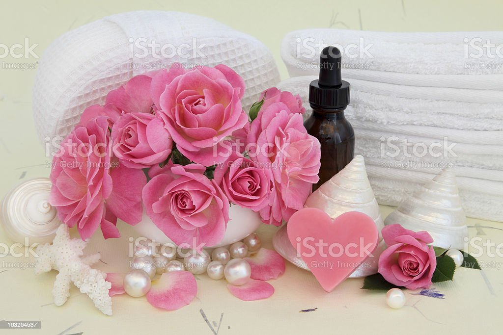 Rose Spa Accessories royalty-free stock photo