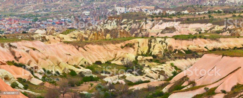 rose valley in Cappadocia, Anatolia, Turkey. stock photo