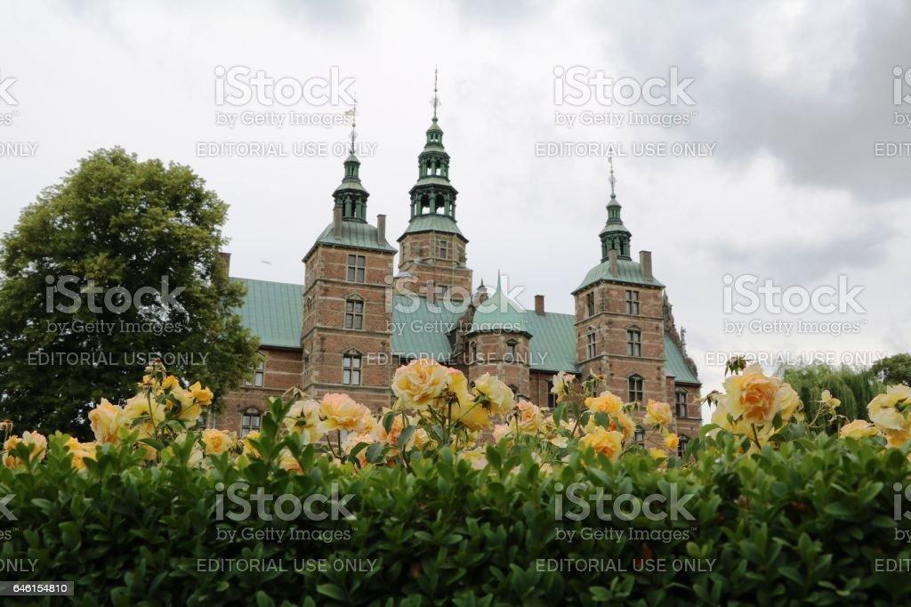 Rose view to the castle Rosenborg in Copenhagen, Denmark Scandinavia stock photo