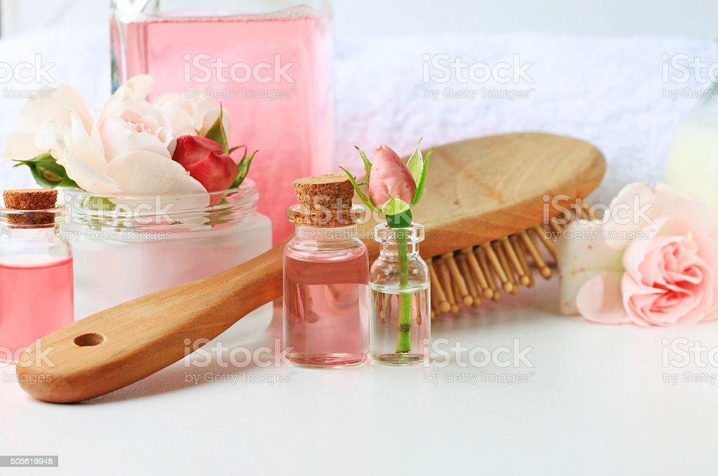 hair treatment, vials jars comb towel tonic home spa setting, blank...