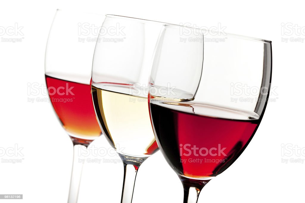 Rose, white and red wine royalty-free stock photo