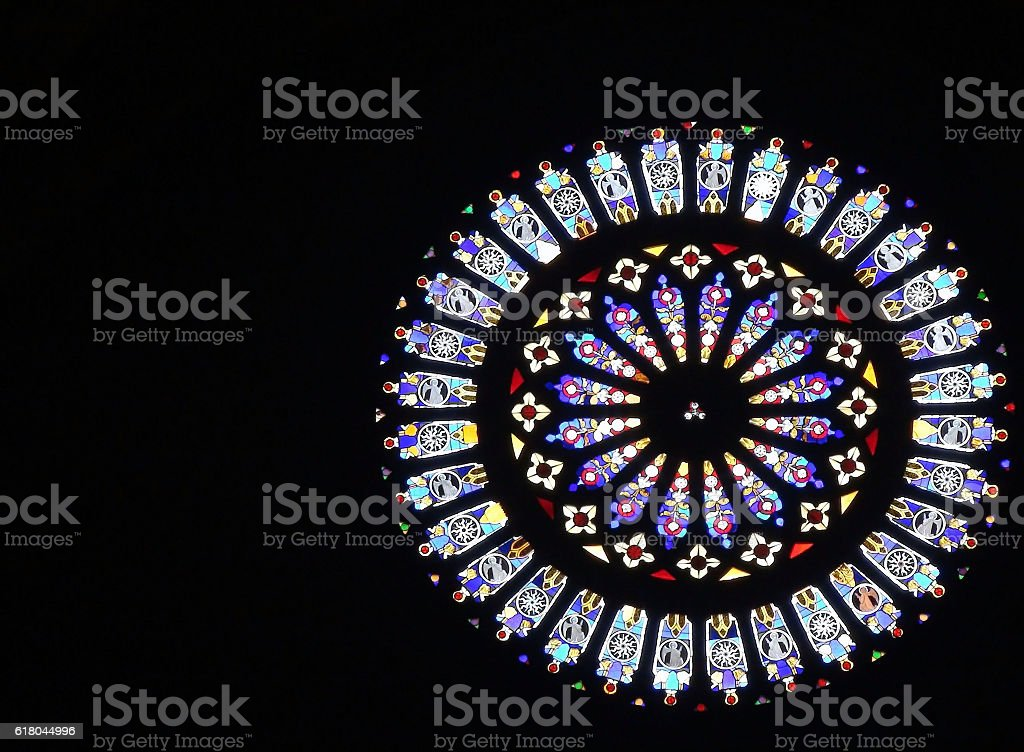 Rose Window At Como Cathedral stock photo