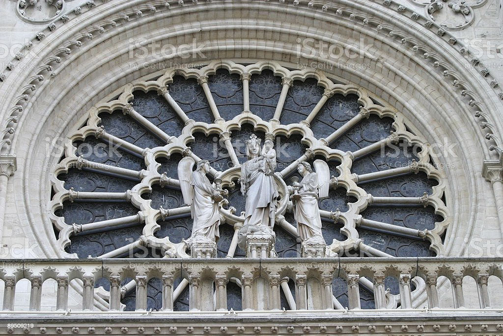 Rose Window, Notre Dame Cathedral, Paris, France royalty-free stock photo