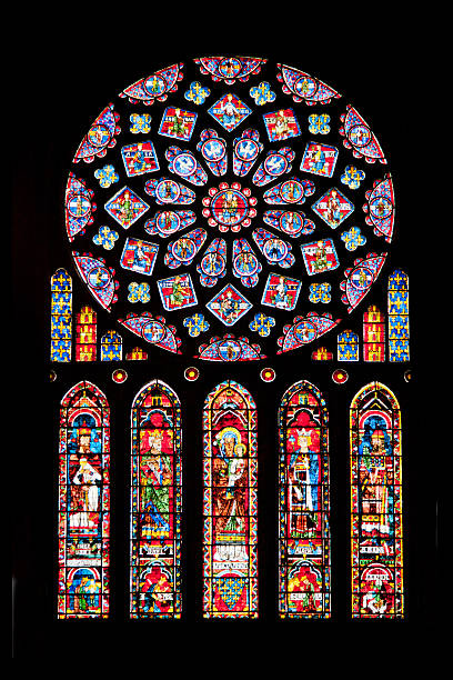 rose window of chartres cathedral - rose window stock pictures, royalty-free photos & images