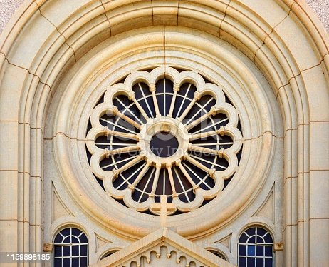 Khartoum, Sudan: Catholic Cathedral of St. Matthew, the Apostle -  rose window and archivolts - tracery and glass - seat of the Archbishop of the Archdiocese of Khartoum, completed in 1908 in the neo-Romanesque style - Al Qadarif