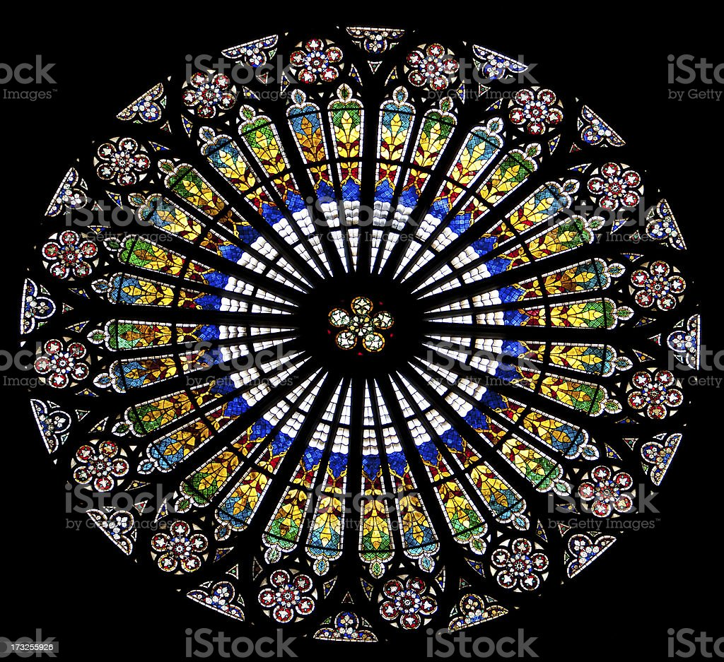 Rose window, Strasbourg Cathedral, France stock photo