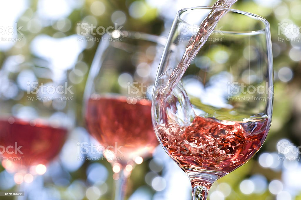 Rose Wine Alfresco stock photo
