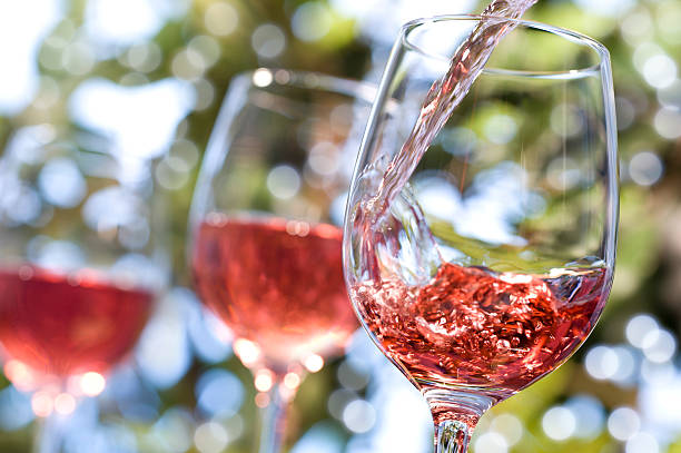 Rose Wine Alfresco stock photo
