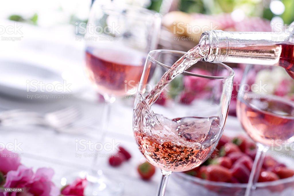 Rose Wine at Picnic stock photo