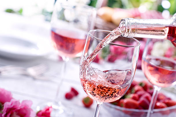 Rose Wine at Picnic stock photo