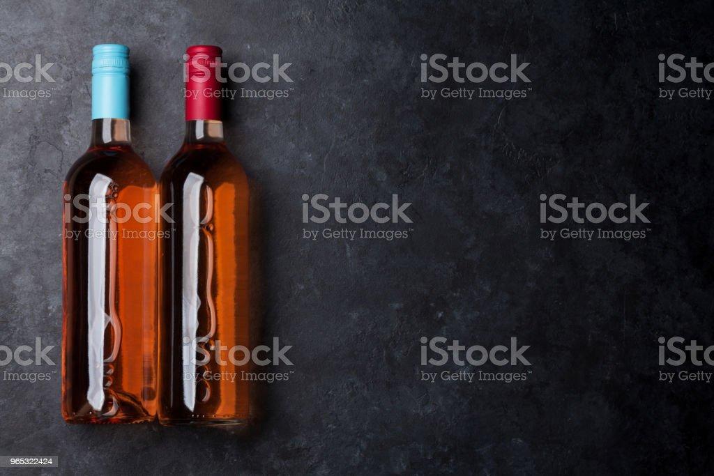 Rose wine bottles zbiór zdjęć royalty-free
